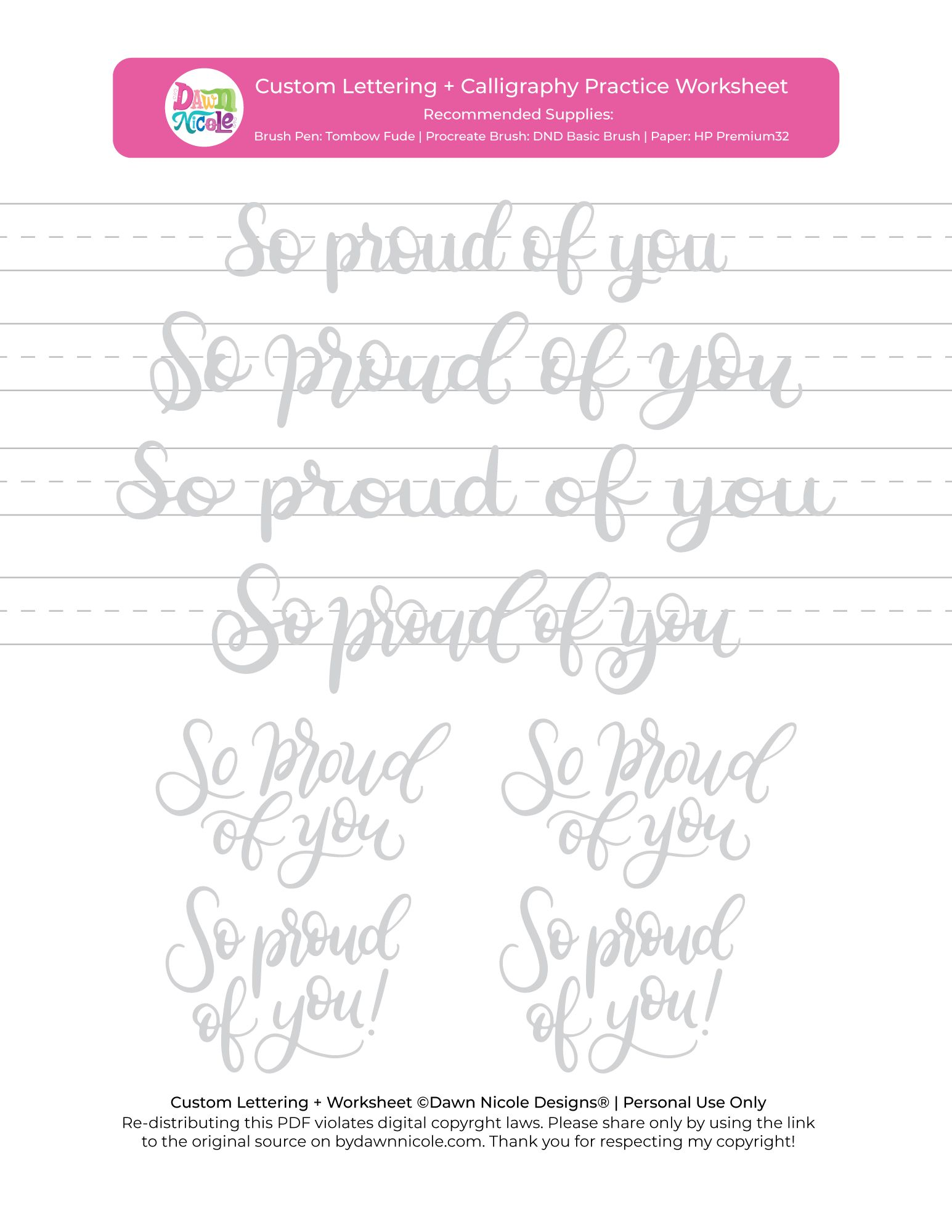 So Proud Of You Brush Calligraphy Practice Sheets In