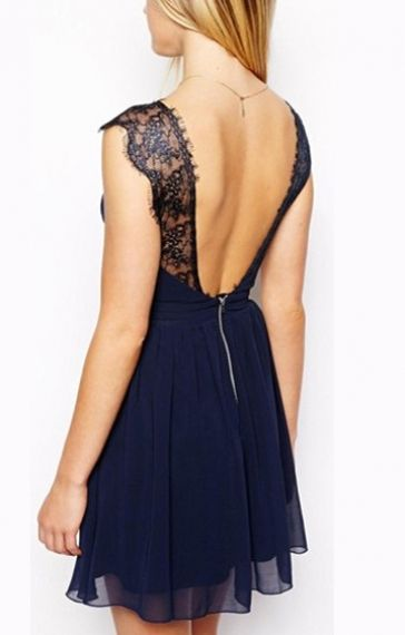 Dark Blue Backless V-neck Sleeveless Lace Splicing Chiffon Dress