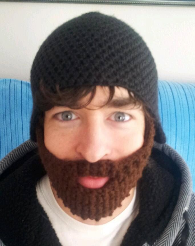Crochet Beard Hat Adult Size Velcro Removable Bearded Face Warmer ...