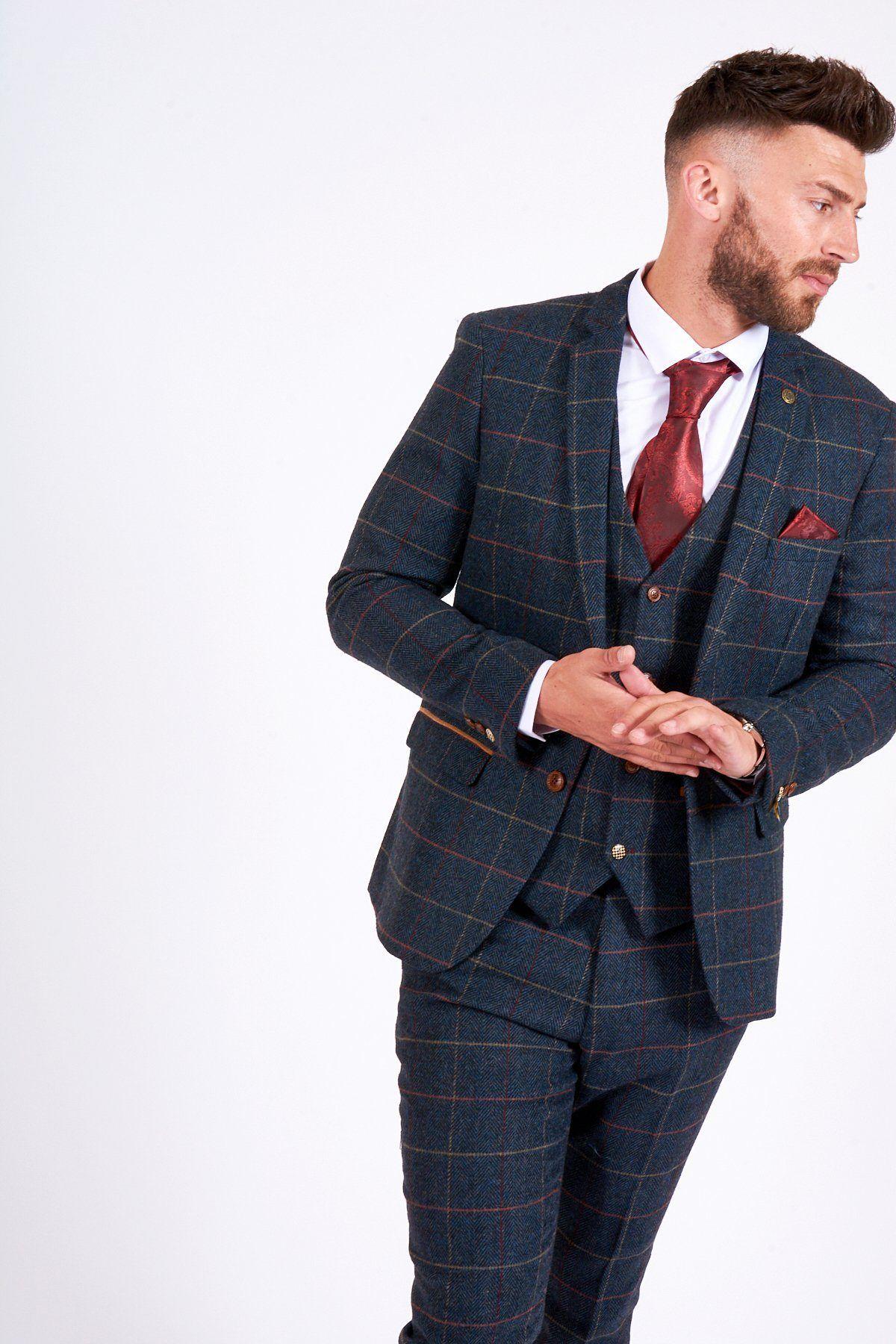 Mens Marc Darcy Designer Wedding Navy Blue Tonal Check Three Piece Suit
