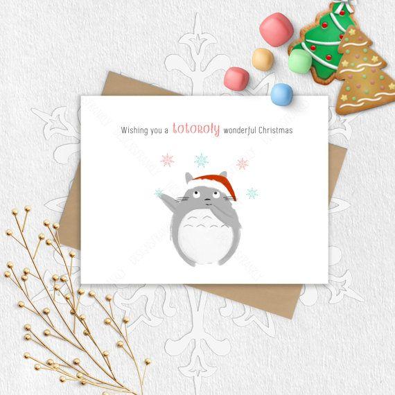 Merry Christmas Puns.Christmas Pun Totoro Greeting Card Funny Totoro Happy