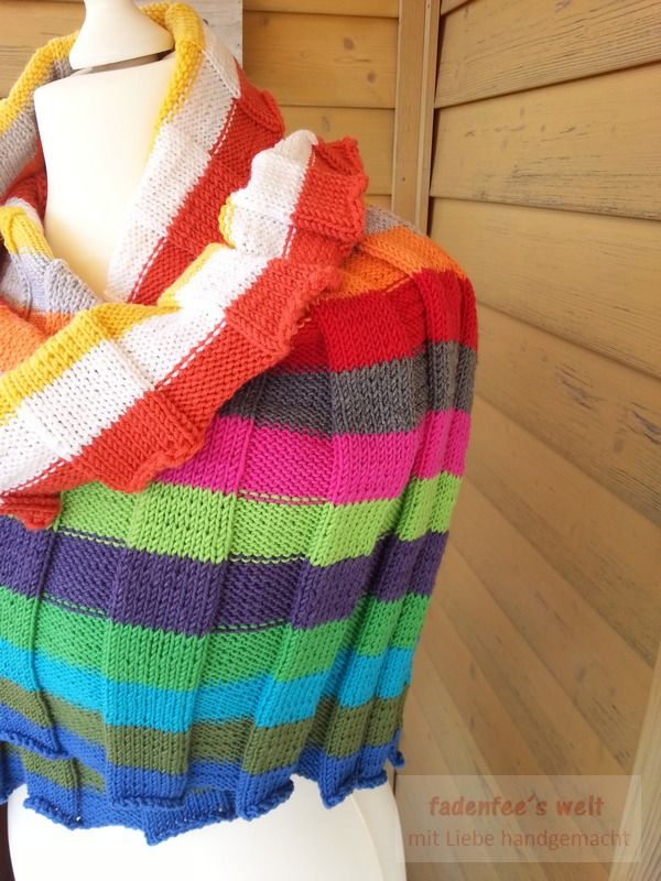 Großes buntes gestricktes Schal / Tuch aus LanaGrossa Cool Wool 3 ...