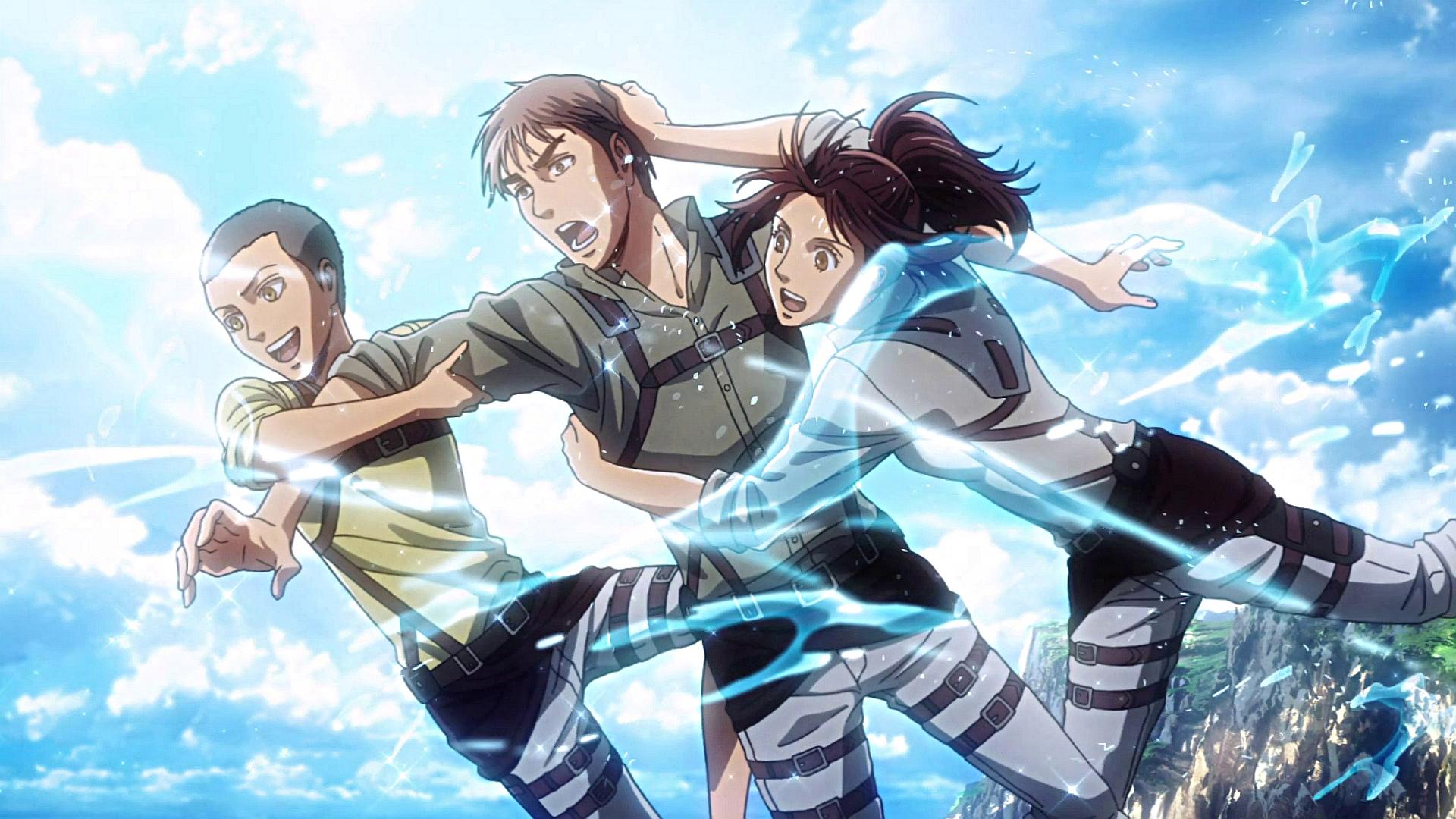 Conny Jean And Sasha Have Fun At The Sea In 2020 Attack On Titan Anime Attack On Titan Jean Attack On Titan Art