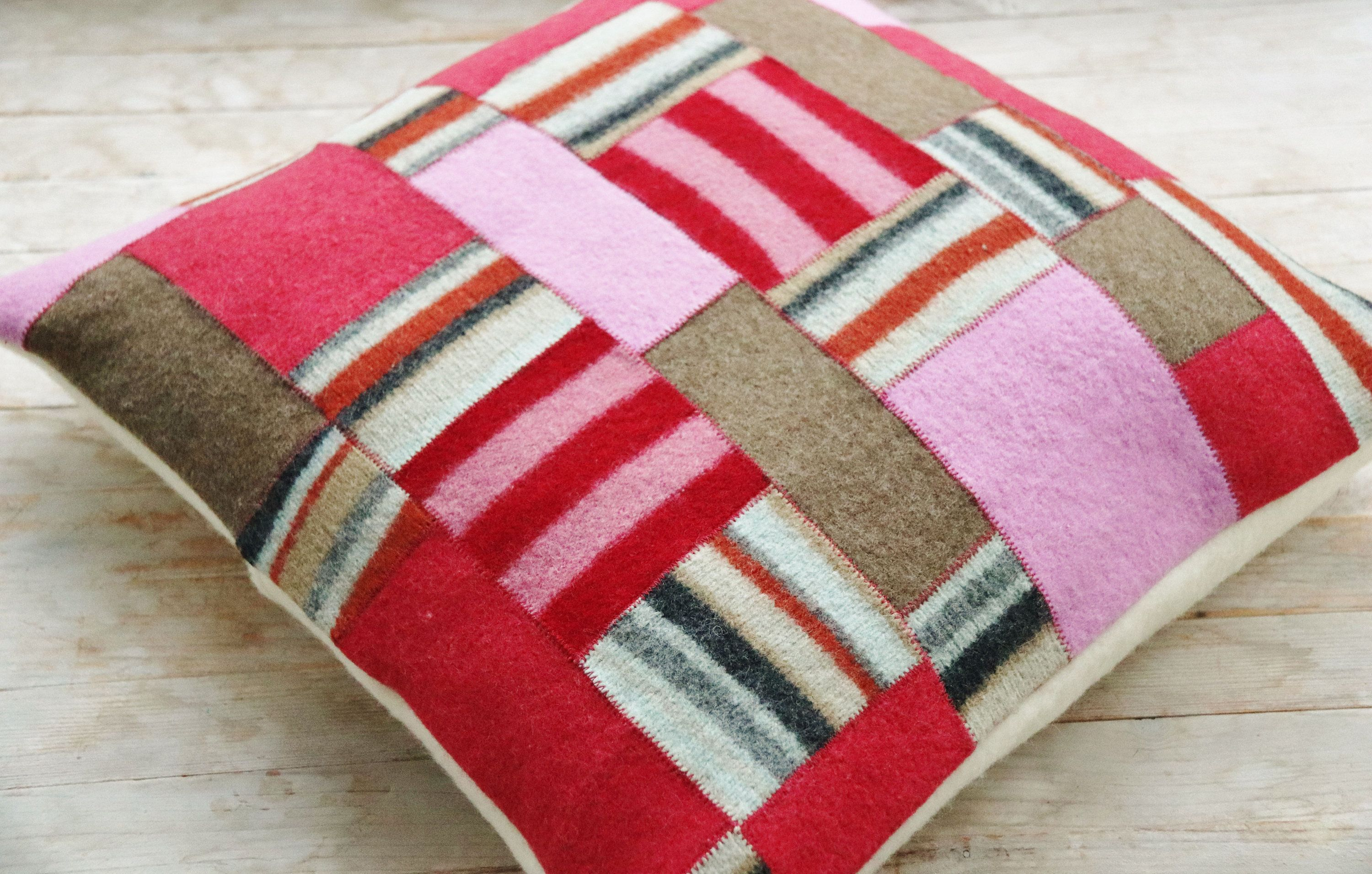 "Pillow case cover felt wool decorative throw cushion cover patchwork pink red brown striped 16"" x 16"" sofa bed armchair housewarming gift"
