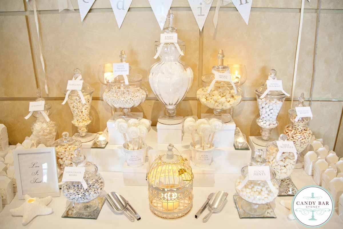 Wedding candy bar buffet reception decorations