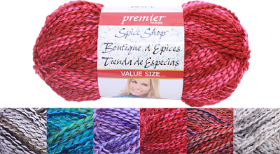 New! SPICE SHOP by Premier Yarns. We carry a great selection of colors all in a value size.This yarn is a perfect blend of cotton and acrylic for easy care, a soft hand, and great nubbly texture. The multi-colored skeins work up quickly into beautiful garments, accessories and home décor. Available at our Ben Franklin Crafts, Monroe, WA 360-794-6745 (while supplies last)