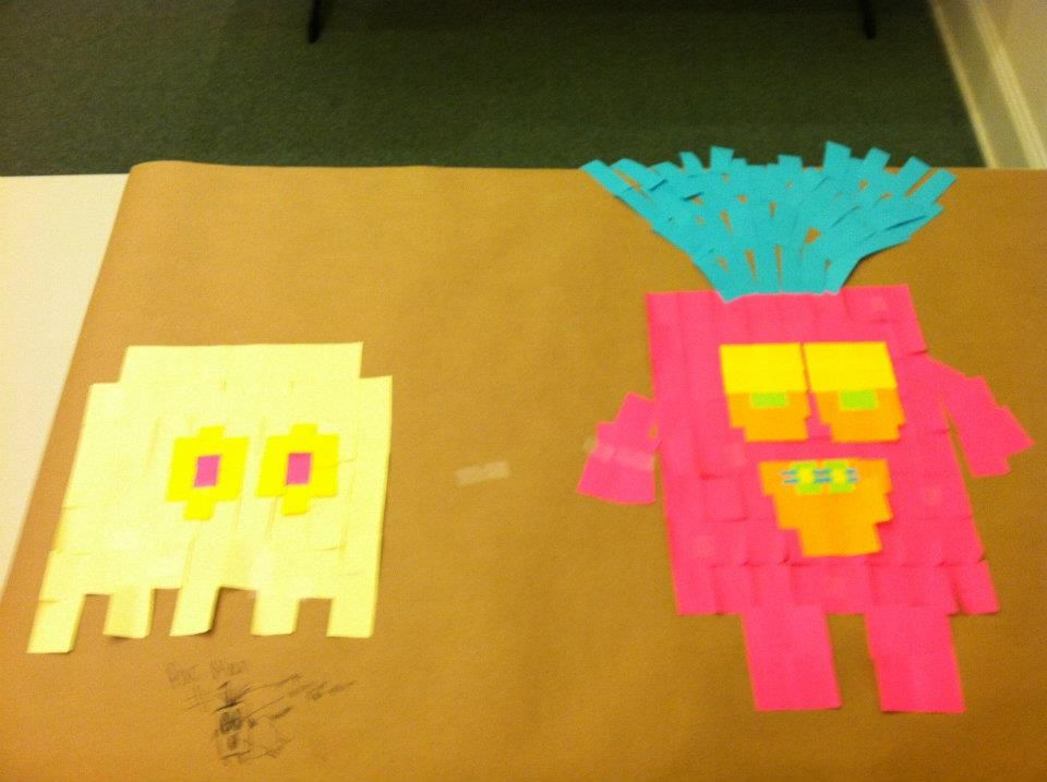 "Brookhaven creates ""pixel art"" with Post-It Notes."