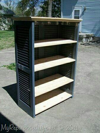 Bookshelf Using Shutters Closet Doors And 5 Easily Made Wood Shelves Shutters Repurposed Diy Shutters Bookshelves Diy