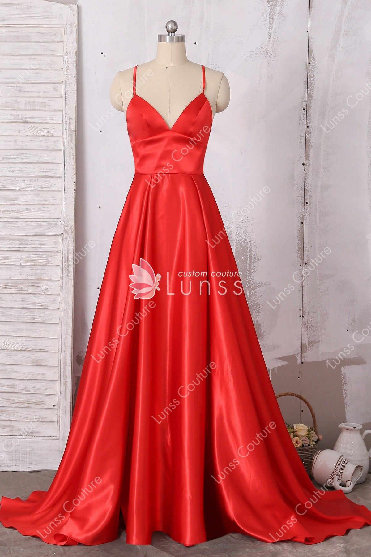 51e9b5948a This flattering red spaghetti A-line long formal dress features great top  details with interlaced crisscross back. It is a nice piece for prom or  other ...