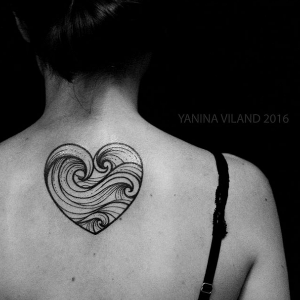And this heart made of waves, because your heart belongs to the ocean!! | 18 Simple And Beautiful Ocean-Inspired Tattoos