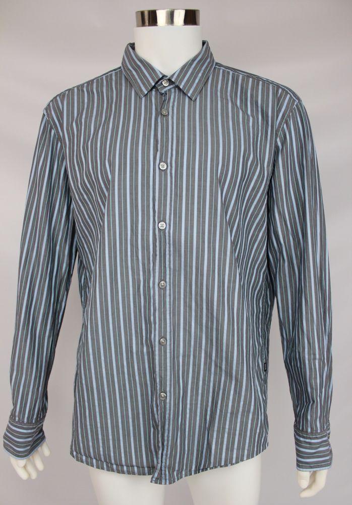 Hugo Boss Slim Fit Mens Size 2XL XXL Blue Striped 100% Cotton Long Sleeve  Shirt