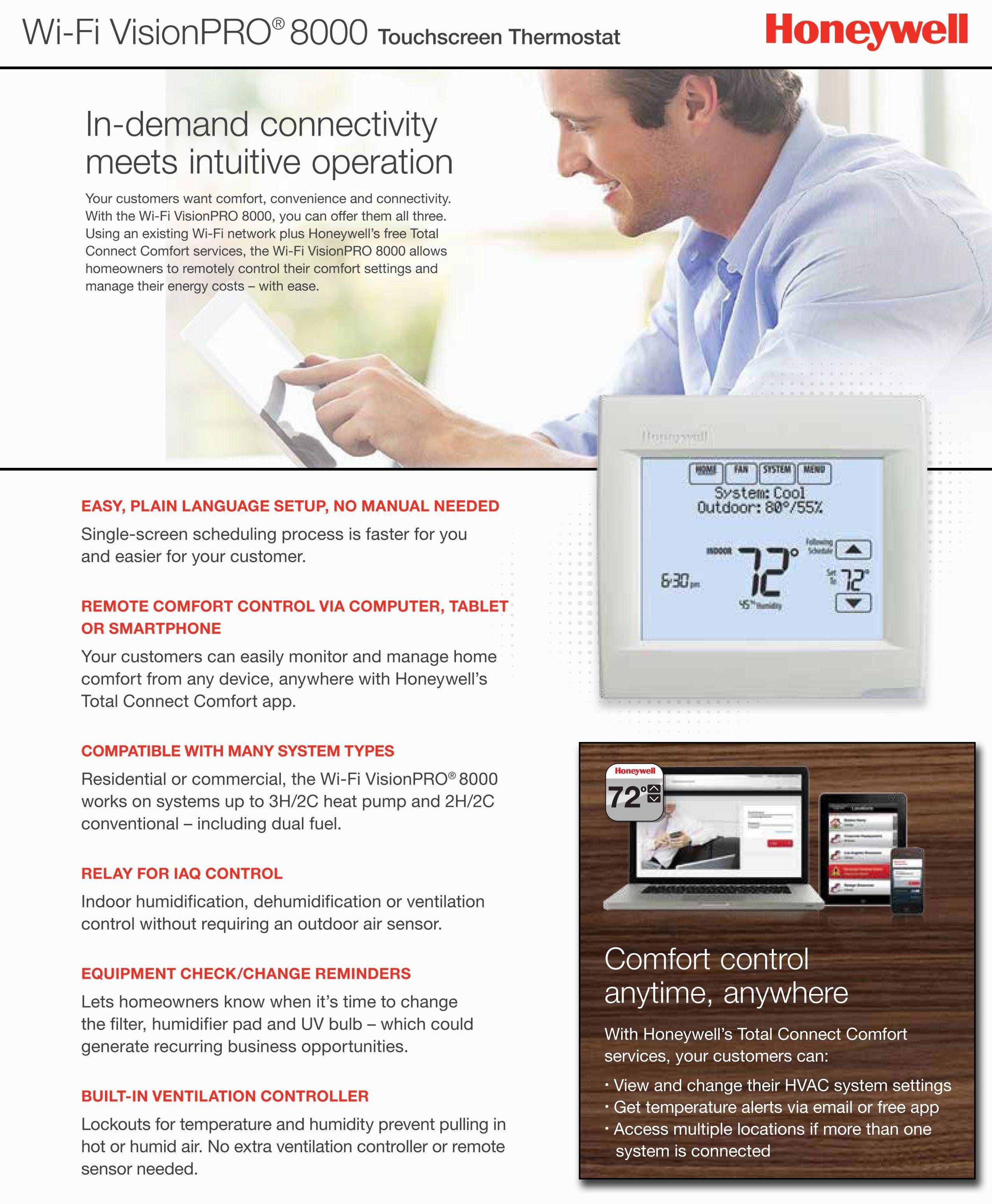 Honeywell pro 8000 wifi touchsrceen thermostat 3h2c