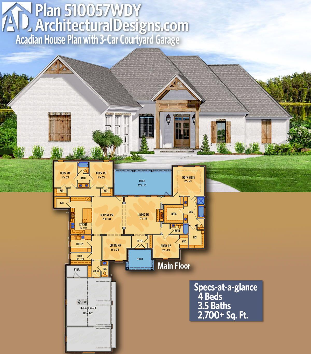 Plan 510057wdy Acadian House Plan With 3 Car Courtyard Garage Acadian House Plans New House Plans House Plans