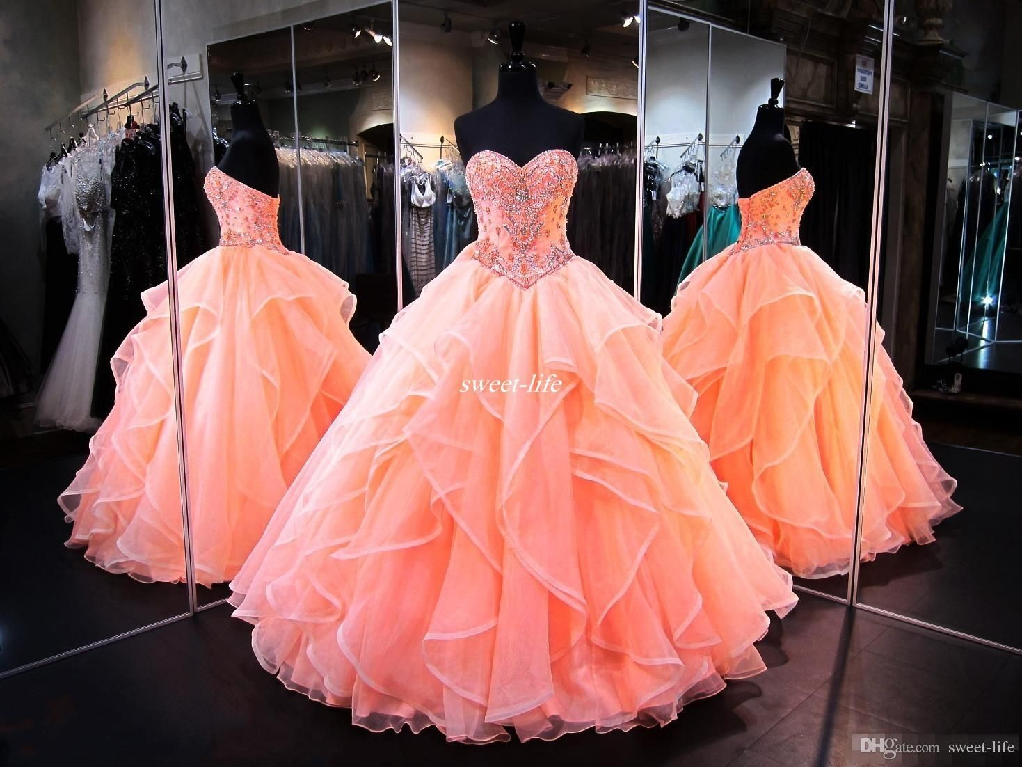 824d202f5294b Coral Quinceanera Dresses 2017 Sweetheart Masquerade Ball Gowns Crystal  Beaded Corset Organza Ruffles Floor Length Long Sweet 16 Prom Gowns  Quinceanera ...