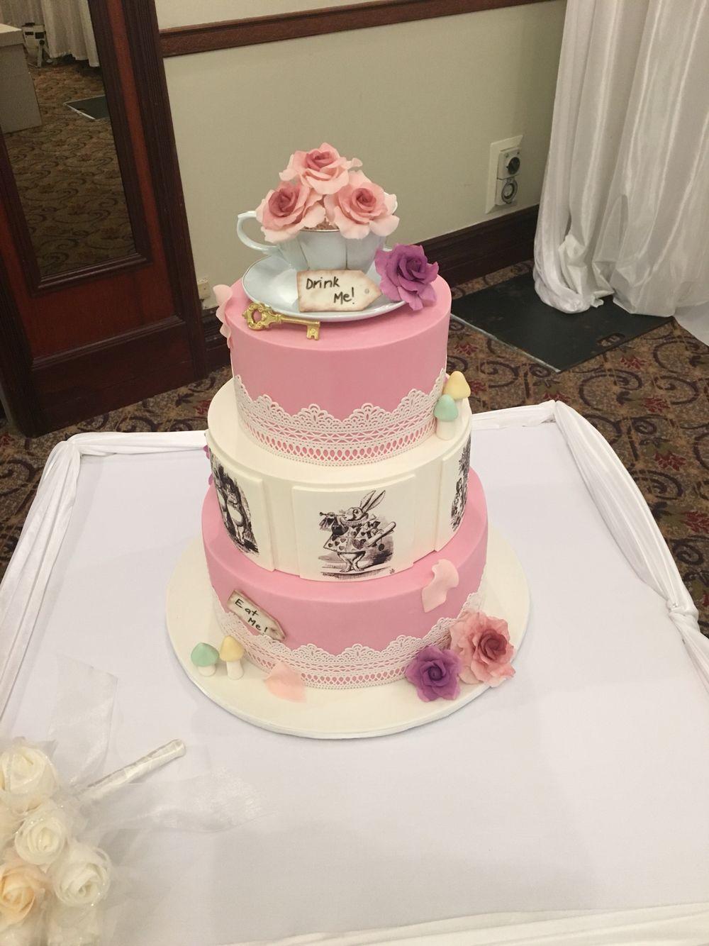 Alice in Wonderland themed wedding cake. All handmade decorations ...