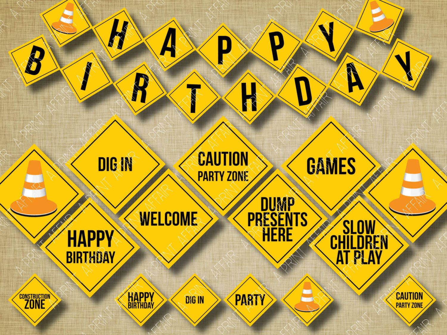 Construction Sign Birthday Party Printables, banner, cupcake toppers ...
