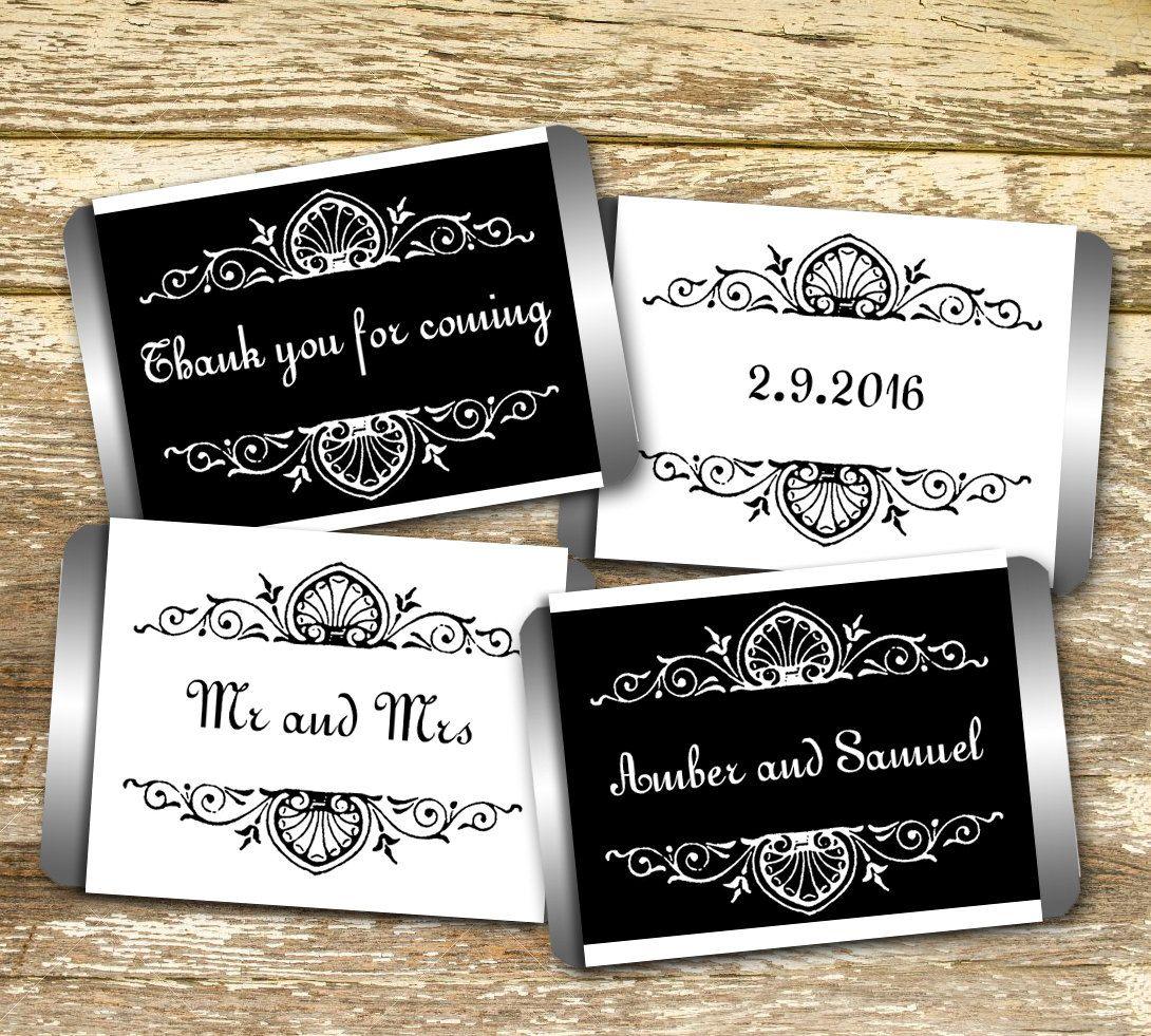 Mini Candy Bar Wrer Wedding Black And White Hershey