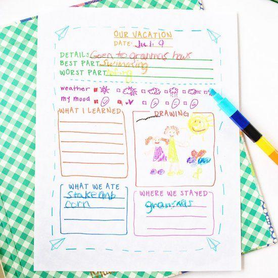 Travel Journal Template For Kids (Craft Gawker) | Pinterest