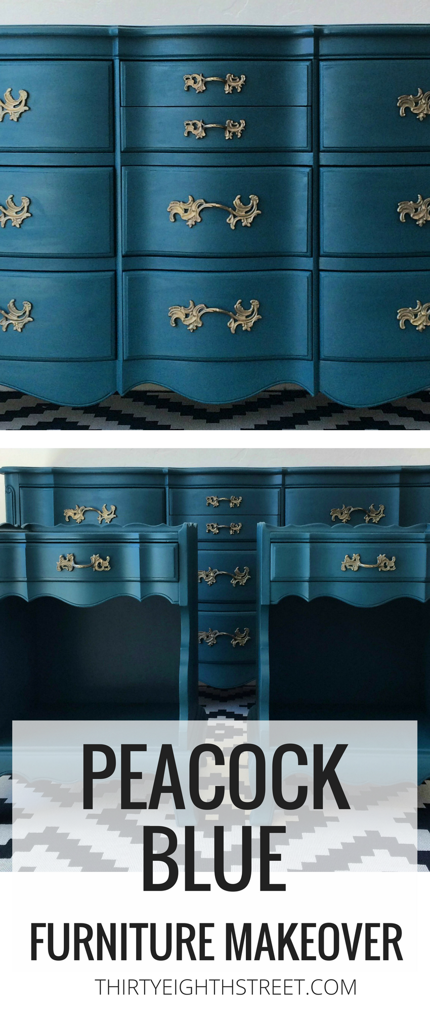 Blue Painted Furniture Ideas Peacock Blue Chalk Painted Bedroom Furniture Furniture Makeover Blue Painted Furniture Blue Furniture Bedroom Furniture Makeover