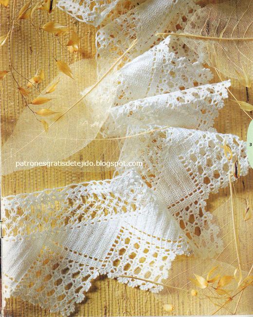Crochet y dos agujas: Maravillosa puntilla con explicación y patrón ...