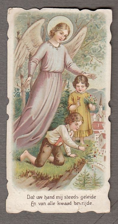 Guardian Angel Children Antique Small Holy Card Holy Cards