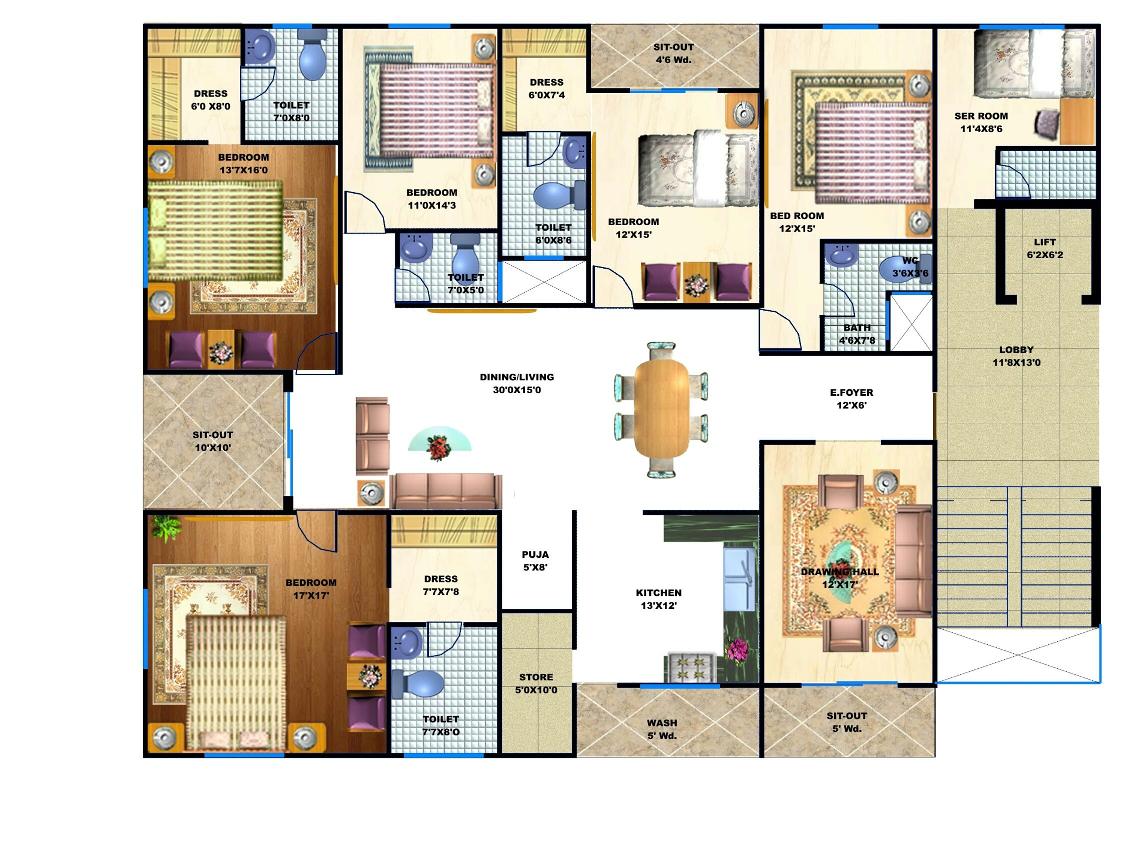 5 Bhk Apartment Floor Plan Apartmentinindore Flatsinindore