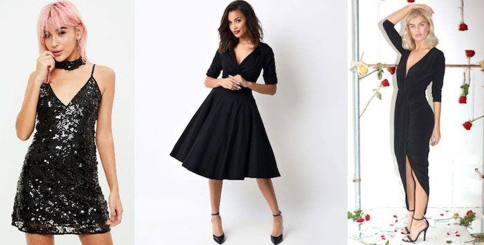 silvester outfit ideen schwarze kleider für damen ladies in schwarz ...
