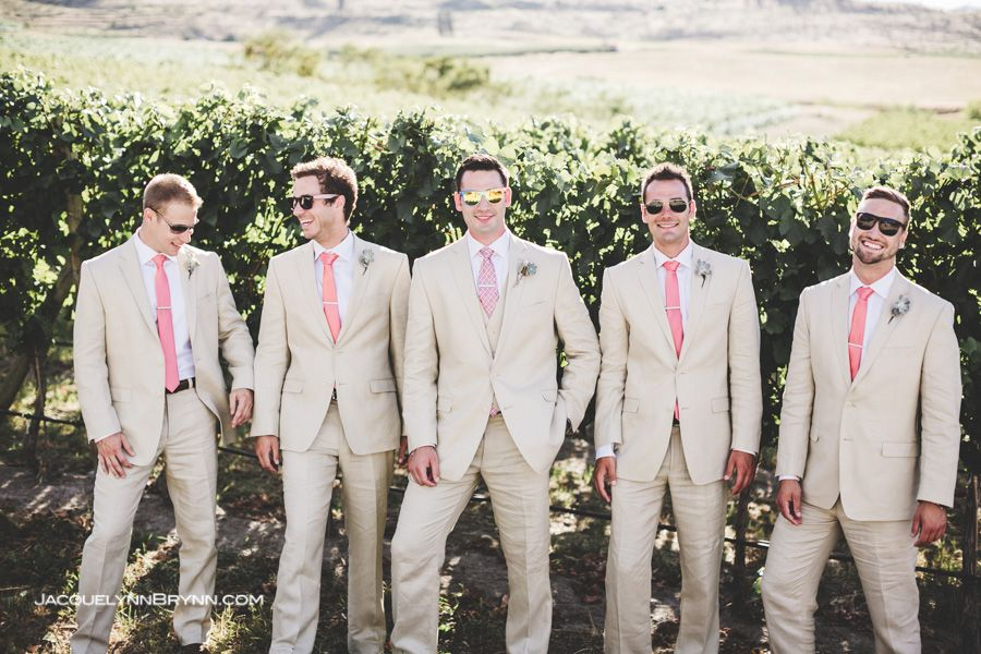 Tsillan Cellar Winery Wedding Jacquelynn Brynn Wedding Photography Groomsmen Tan Suits Pink Ties Sunglass Groom Suit Summer Khaki Wedding Tan Suit Wedding
