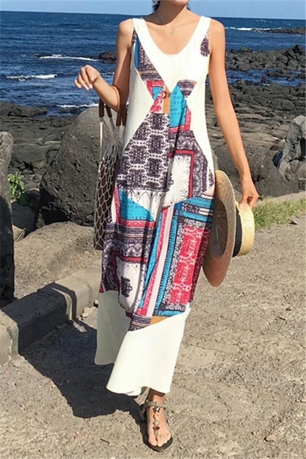 Fashion National Style Floral Print Wide Leg Jumpsuit in