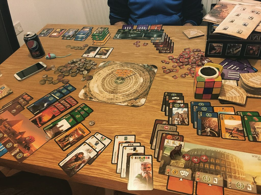 7 Wonders End of the night three player game.