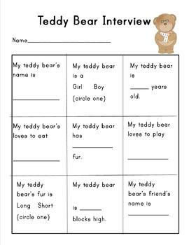 Teddy Bear Interview Sheet