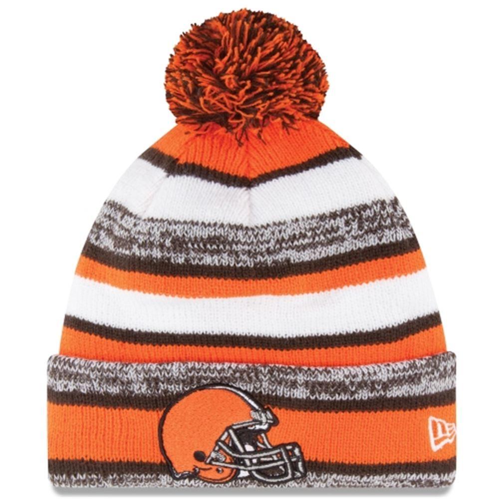 Mens Cleveland Browns New Era Orange On-Field Sport Sideline Cuffed Knit Hat 971b01383