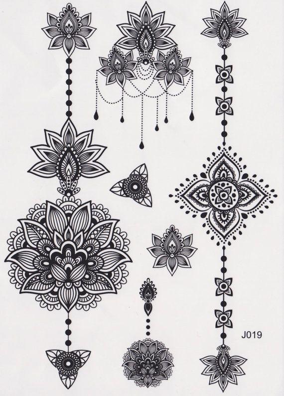 Temporary Tattoo Mandala Tattoo Lotus Tattoo Feminine Tribal Aztec Black And White Maori Flower Vintag Tribal Lotus Tattoo Lotus Mandala Tattoo Aztec Tattoo