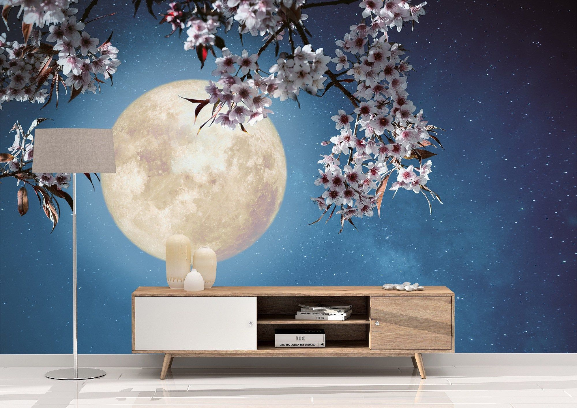 Removable Peel And Stick Wallpaper Full Moon And Cherry Blossom Tree Wall Mural Wallpaper Large Wall Murals Wall Murals Fabric Wall Decals