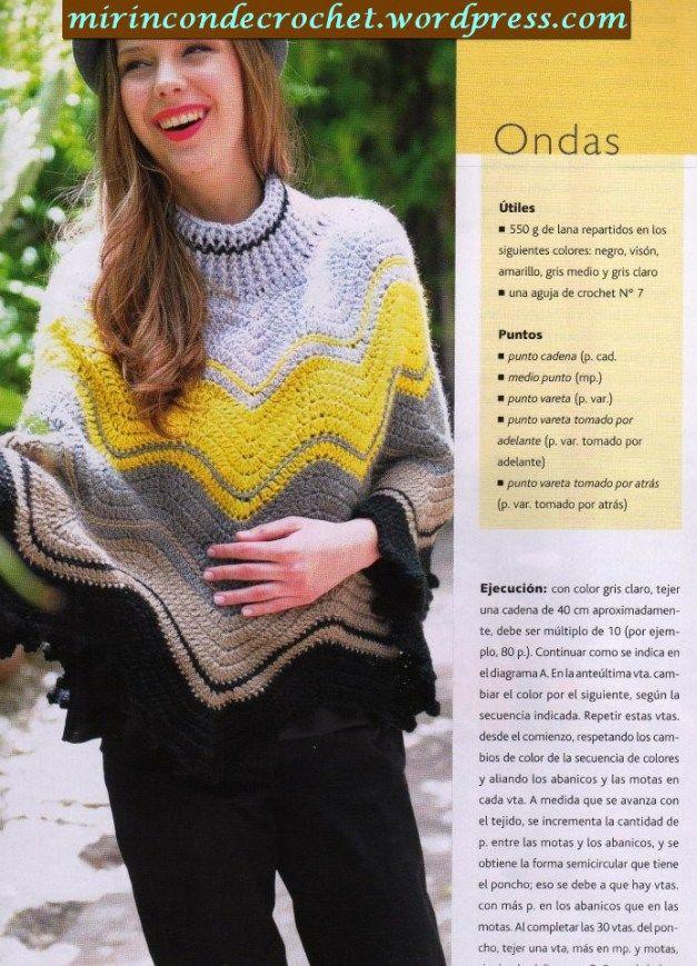 Poncho en zig zag   crochet shawls - ponchos - scarfs 2   Pinterest ...