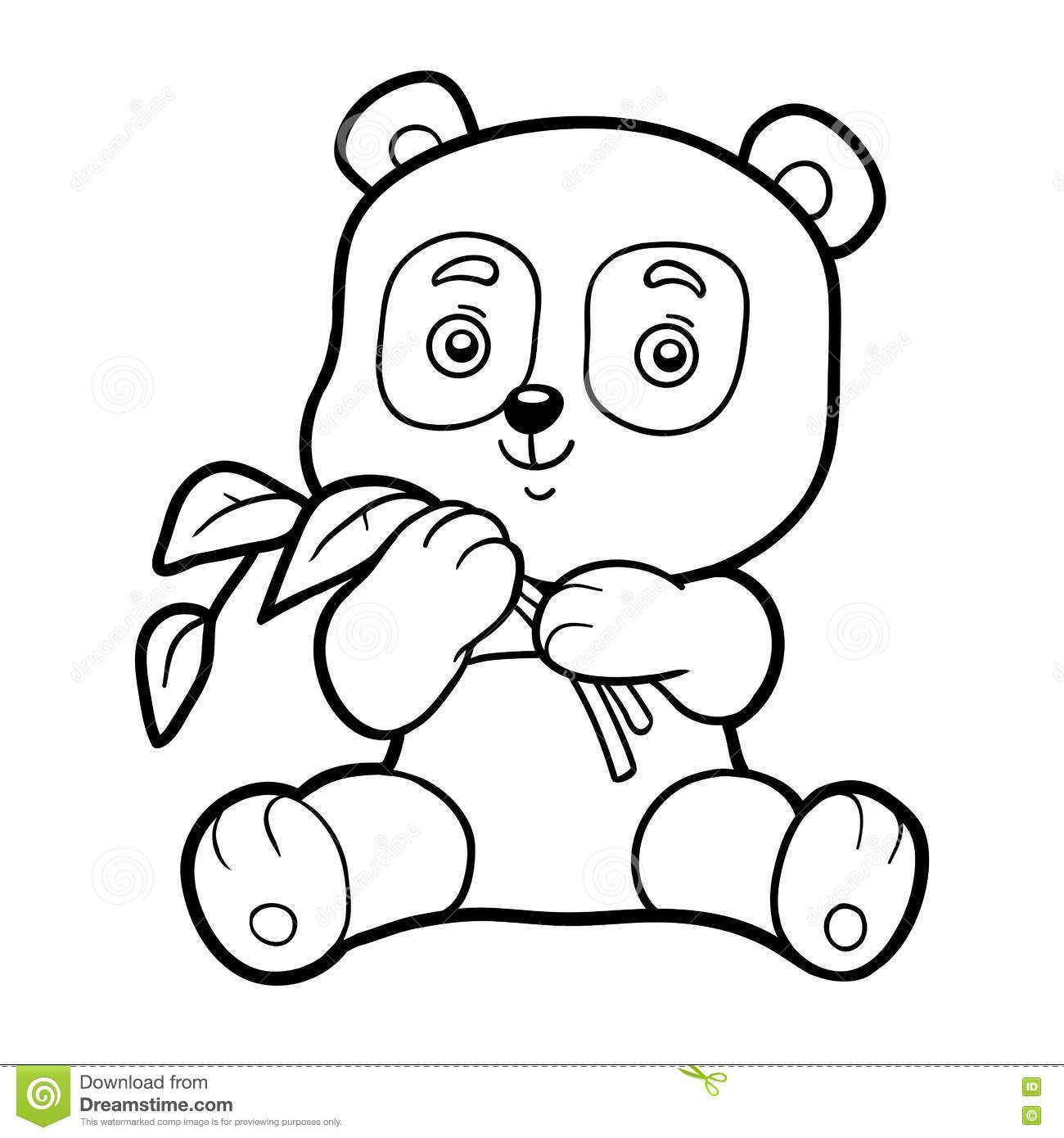 Книжка-раскраска для детей, маленькая панда Иллюстрация ...