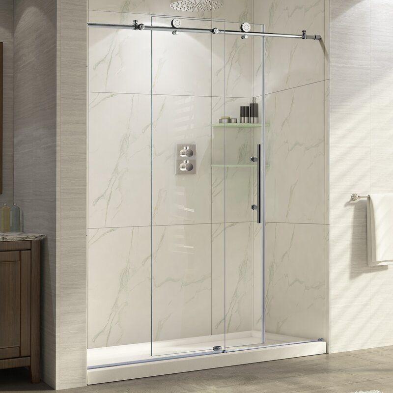 Trident 48 X 76 Single Sliding Frameless Shower Door In 2020 Shower Doors Bathroom Tile Designs Shabby Chic Bathroom