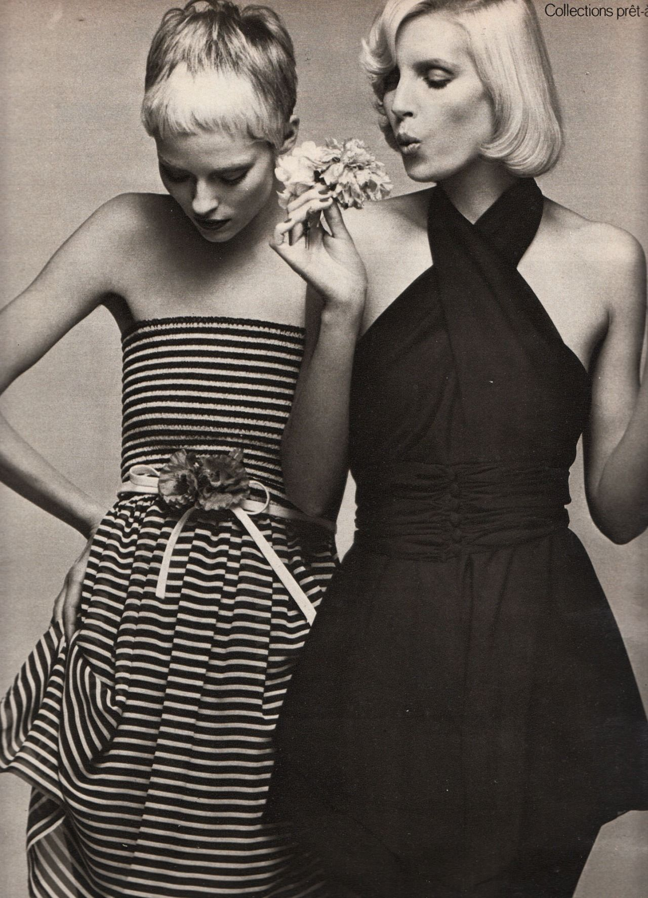 Left: Nina Ricci Right: Karl Lagerfeld for Chloe Marie Claire - March 1972 Photographed by Marc Hispard