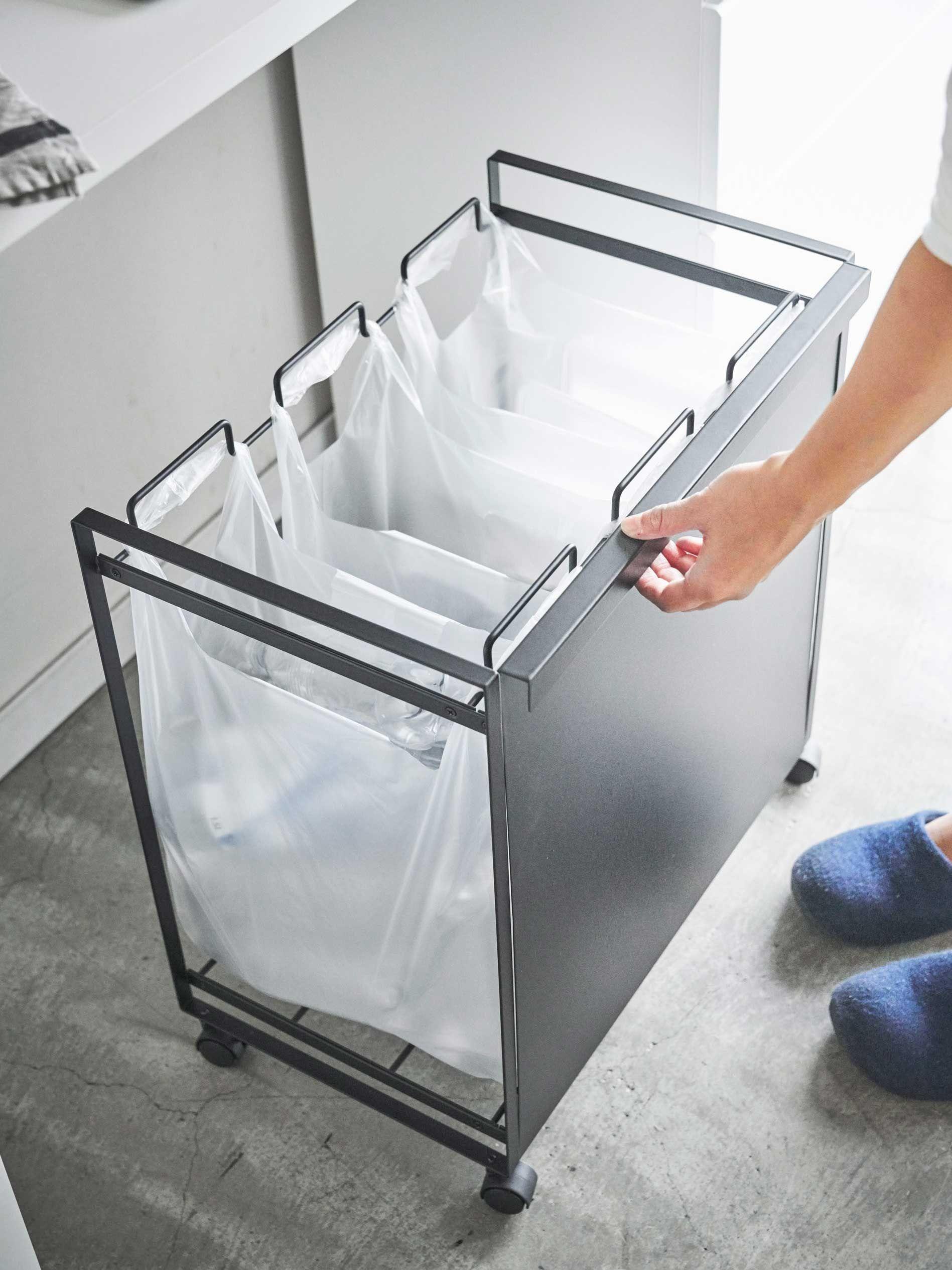 レジ袋を隠して分別できるスタイリッシュな分別ゴミ箱 インテリア