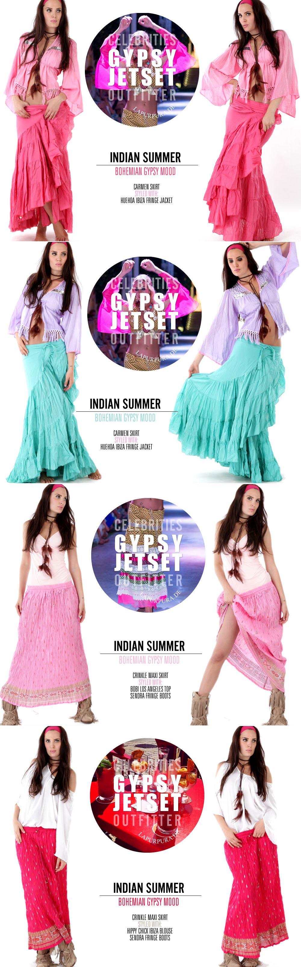 Gypset Skirts by INDIAN SUMMER #gypset #bohemian #boho #skirts #maxiskirts