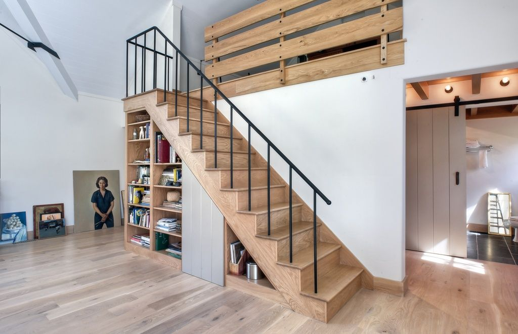 Rustic Staircase with Hardwood floors, Loft, Cathedral ceiling