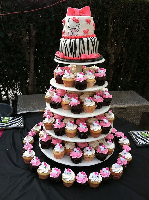 Hello Kitty Zebra cake and cupcakes Hello kitty Kitty and Cake