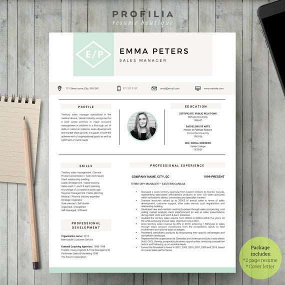 Modern Resume Template  Profilia Resume Boutique On Etsy Www