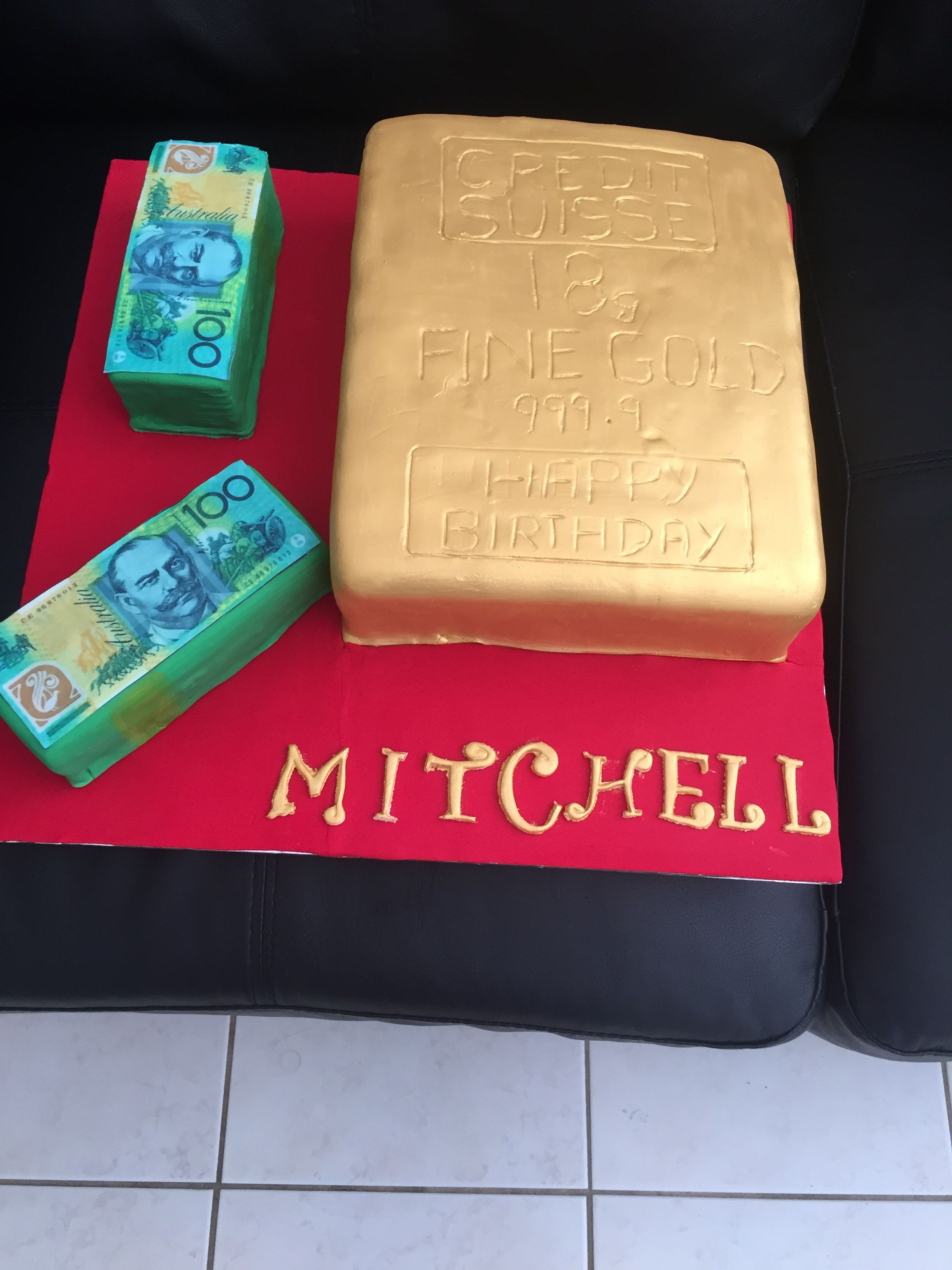 birthday cakes forward 18th birthday gold bar and money cake birthday ...