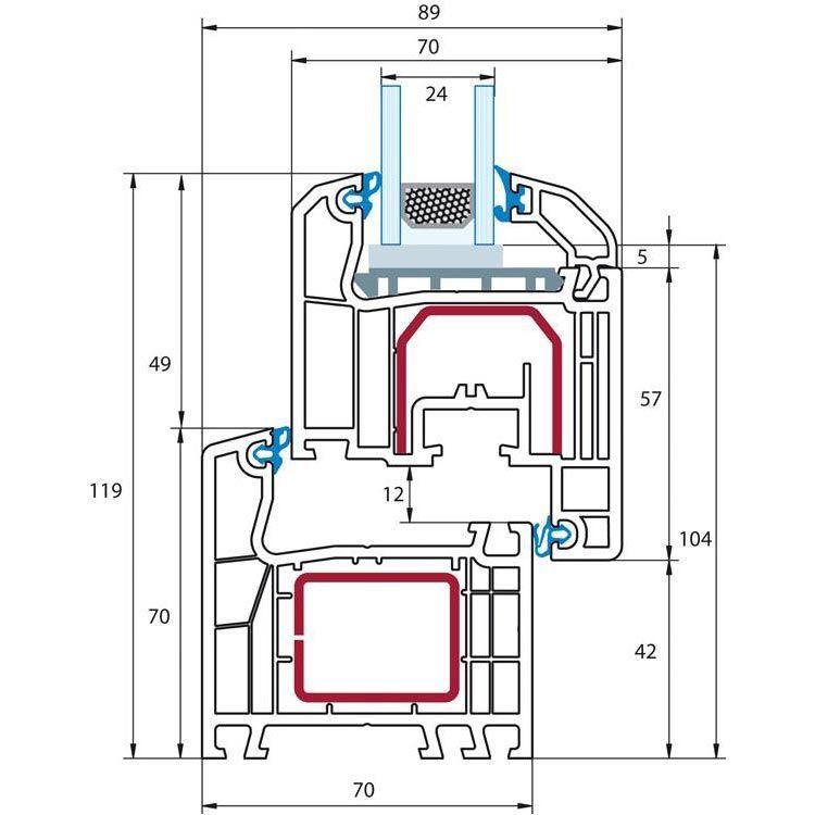 Fenêtre PVC energeto® 8000 ED détail oscillo-battant - oscillo