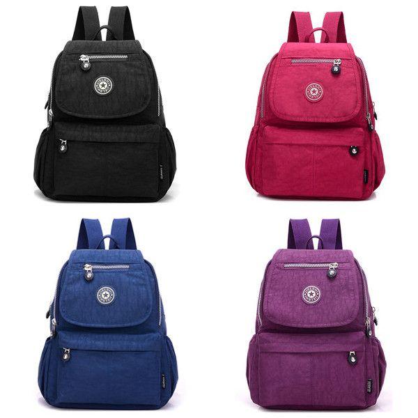Women Nylon Multi Pockets Backpack Girls Casual Shoulder Bags Outdoor Sports Rucksack