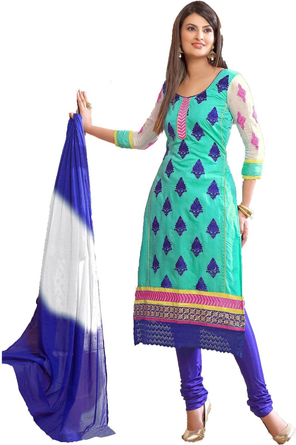 chakudee by white blue chanderi drees material: Amazon.in: Clothing ...