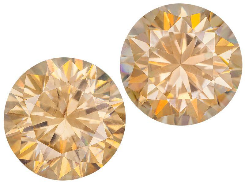 Matched Pair Lab Created Light Champagne Strontium Titanate Min 5.50ctw 8mm Round