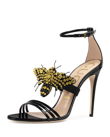 58eeb8df741 GUCCI Ilse Bee-Embellished Leather Sandal