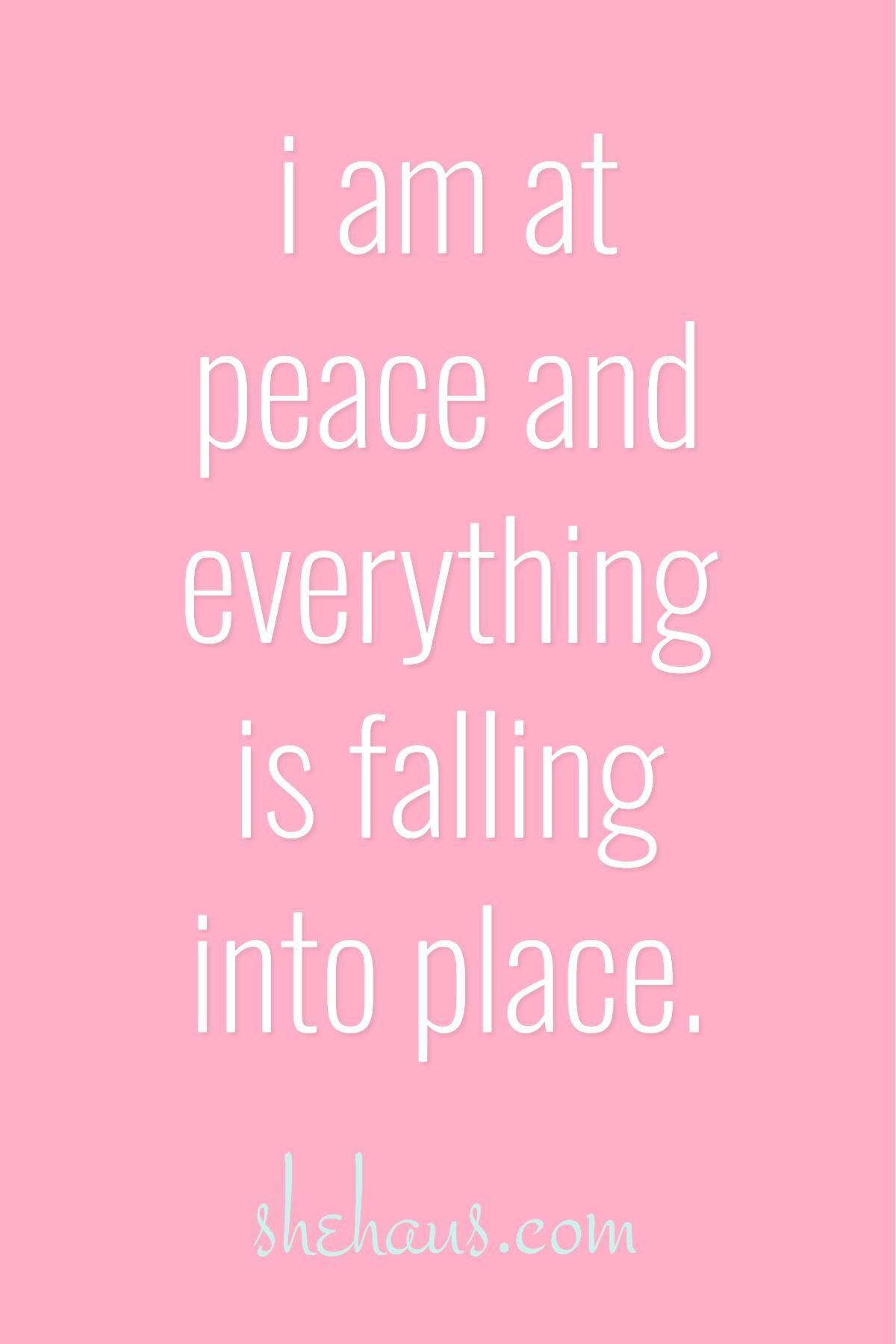 I am at peace